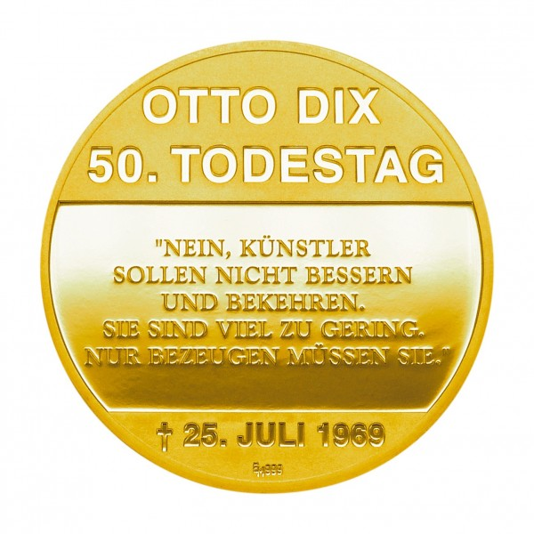 "Medaille ""50. Todestag Otto Dix - GERA"" gold"